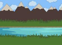 Illustrazione di vettore del fiume della natura Immagini Stock