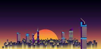 Illustrazione di vettore del fondo degli orizzonti della città costruzione piana della città royalty illustrazione gratis