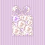 Illustrazione di vettore del fondo del regalo della perla di bellezza Fotografie Stock Libere da Diritti