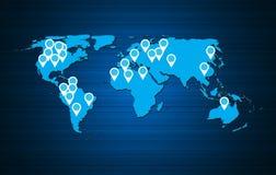 Illustrazione di vettore del fondo della mappa di mondo Fotografie Stock