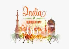 Illustrazione di vettore del fondo di giorno della Repubblica dell'India Immagini Stock Libere da Diritti