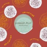 Illustrazione di vettore del frutto della passione, modello senza cuciture di tiraggio della mano royalty illustrazione gratis