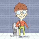Illustrazione di vettore del fumetto del carattere dell'uomo del geek Fotografie Stock Libere da Diritti