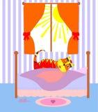 Illustrazione di vettore del fumetto del gatto femminile sveglio Fotografie Stock Libere da Diritti