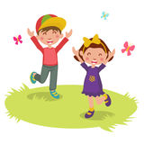 Illustrazione di vettore del fumetto felice 2 dei bambini Fotografia Stock