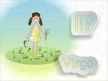 Illustrazione di vettore del fumetto del segno dello zodiaco Fotografia Stock Libera da Diritti