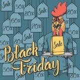 Illustrazione di vettore del gallo su Black Friday Immagine Stock