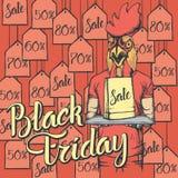 Illustrazione di vettore del gallo su Black Friday Immagine Stock Libera da Diritti
