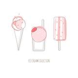 Illustrazione di vettore del gelato della fragola Fotografie Stock Libere da Diritti