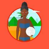 Illustrazione di vettore del giocatore di beach volley Immagine Stock Libera da Diritti