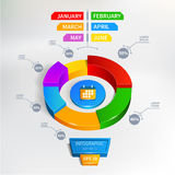 Illustrazione di vettore del grafico di cerchio di Infographics Immagini Stock