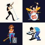 Illustrazione di vettore del gruppo di musica di banda rock royalty illustrazione gratis