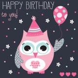 Illustrazione di vettore del gufo di buon compleanno Immagine Stock