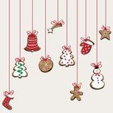 Illustrazione di vettore del hangng dei biscotti del berad dello zenzero Fondo marrone chiaro Fotografia Stock