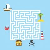 Illustrazione di vettore del labirinto del tesoro del pirata royalty illustrazione gratis