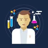 Illustrazione di vettore del laboratorio dello scienziato del chimico Fotografie Stock