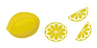 Illustrazione di vettore del limone su fondo bianco intero, fetta e metà di fetta illustrazione di stock
