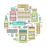 Illustrazione di vettore del lineart dei prodotti della farmacia Immagine Stock