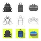 Illustrazione di vettore del logo del bagaglio e della valigia Raccolta del simbolo di riserva di viaggio e della valigia per il  illustrazione vettoriale