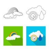 Illustrazione di vettore del logo di clima e del tempo Insieme dell'illustrazione di riserva di vettore della nuvola e del tempo illustrazione vettoriale