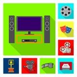Illustrazione di vettore del logo di contaminazione e della televisione Raccolta della televisione e dell'illustrazione di riserv illustrazione di stock