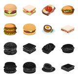 Illustrazione di vettore del logo dell'involucro e del panino Metta dell'icona di vettore del pranzo e del panino per le azione illustrazione vettoriale