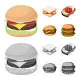 Illustrazione di vettore del logo dell'involucro e del panino Raccolta del simbolo di riserva del pranzo e del panino per il web royalty illustrazione gratis