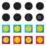 Illustrazione di vettore del logo della moneta e di cryptocurrency Raccolta del cryptocurrency e dell'illustrazione di riserva cr illustrazione vettoriale