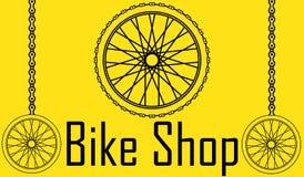 Illustrazione di vettore del manifesto della bicicletta Cartolina della bici della ruota Fotografia Stock