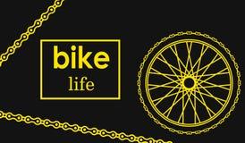 Illustrazione di vettore del manifesto della bicicletta Cartolina della bici della ruota Immagine Stock