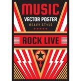 Illustrazione di vettore del manifesto di festival rock di concerto di musica Modello verticale dell'insegna di libertà nazionale illustrazione di stock