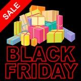 Illustrazione di vettore del manifesto di vendita di Black Friday piana Immagini Stock Libere da Diritti