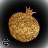 Illustrazione di vettore del melograno dell'oro Fondo dorato stilizzato della frutta Immagini Stock