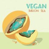 Illustrazione di vettore del melone surreale Cartolina d'auguri del vegano Immagine Stock