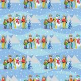 Illustrazione di vettore del modello senza cuciture con la famiglia felice del paesaggio di inverno che gioca pupazzo di neve, co illustrazione vettoriale