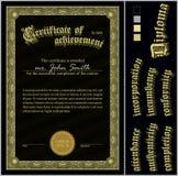 Illustrazione di vettore del nero e del certificato dell'oro Fotografie Stock Libere da Diritti