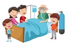 Illustrazione di vettore del nonno di visita della famiglia all'ospedale illustrazione di stock
