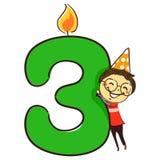 Illustrazione di vettore del numero tre candele con la figura cappello d'uso del bastone del partito del bambino di Little Boy fotografia stock