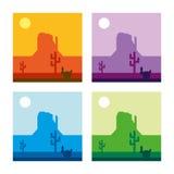 Illustrazione di vettore del paesaggio del deserto - 4 colori Immagini Stock Libere da Diritti