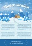 Illustrazione di vettore del paesaggio di inverno Modello di progettazione dell'opuscolo Immagine Stock