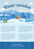 Illustrazione di vettore del paesaggio di inverno Modello di progettazione dell'opuscolo Immagine Stock Libera da Diritti