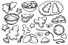 Illustrazione di vettore del pan di zenzero di cottura Fotografia Stock