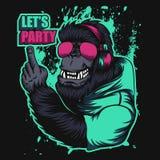 Illustrazione di vettore del partito della cuffia della gorilla royalty illustrazione gratis