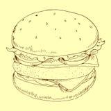 Illustrazione di vettore del pasto dell'hamburger Fotografia Stock Libera da Diritti