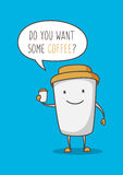 Illustrazione di vettore del personaggio dei cartoni animati della tazza di caffè Immagini Stock Libere da Diritti