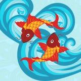 Illustrazione di vettore del pesce giapponese tradizionale della carpa Fotografie Stock Libere da Diritti