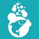 Illustrazione di vettore del pesce su fondo blu Fotografie Stock Libere da Diritti