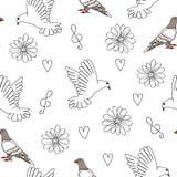 Illustrazione di vettore del piccione e della colomba con i cuori, i fiori e la chiave tripla illustrazione di stock