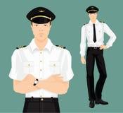 Illustrazione di vettore del pilota in vestiti convenzionali Immagini Stock