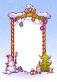 Illustrazione di vettore del portone di Natale con il pupazzo di neve Immagini Stock Libere da Diritti